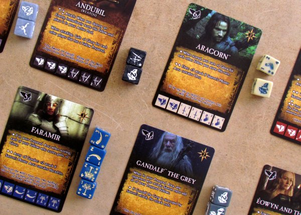 Lord of the Rings Dice Building Game - game in progress